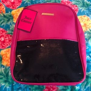 Juicy Couture sequin pink and black mini backpack